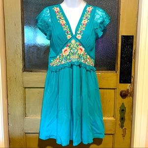 Umgee Teal Blue Dress w/ Floral Embroidery NWT S